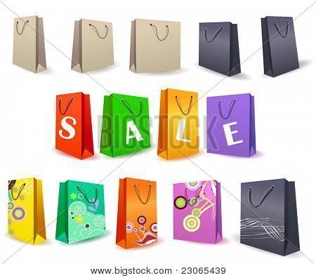Set of shopping bags. Raster version. Vector version is in my gallery.