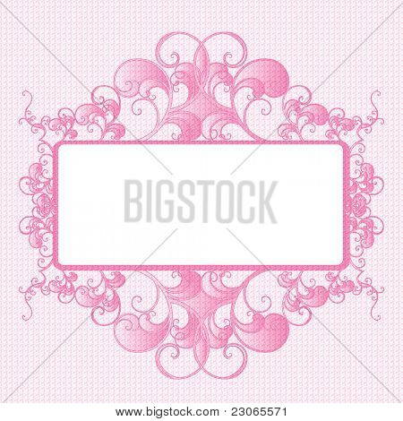 Decorative label rose and white. Abstract design.