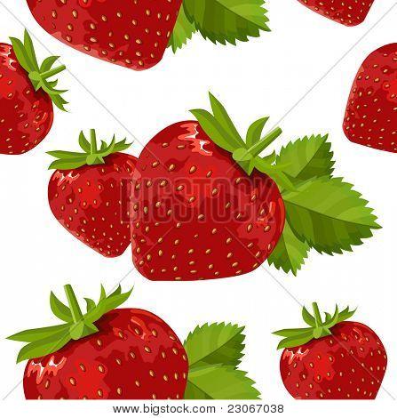 Seamless pattern with  ripe strawberry