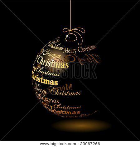 """Christmas ball made of """"Merry christmas"""" phrase"""