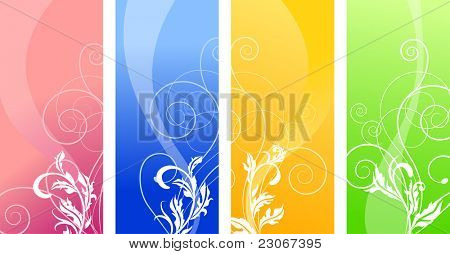 Four different colorful floral banners. Raster version. Vector version is in my gallery.