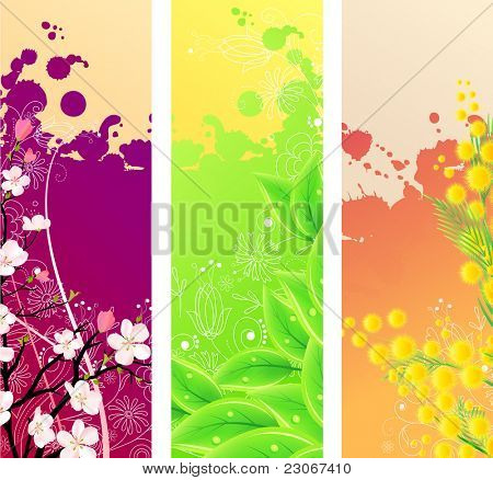 Three colorful beautiful vertical floral banners. Raster version. Vector version is in my gallery.