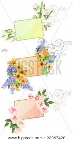 Three  frames with different leaves and flowers. Raster version. Vector version is in my gallery.