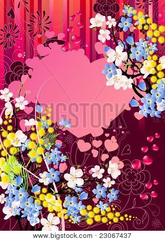 Floral greeting card with mimosa, heart and forget-me-nots. Raster version. Vector version is in my gallery.