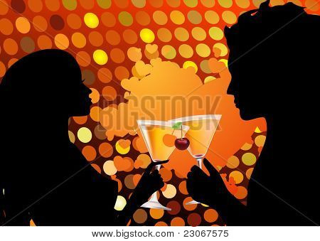 Couple drinking cocktail. Raster version. Vector version is in my gallery.
