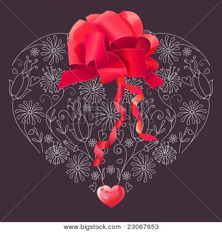 Floral heart with bow. Raster version. Vector version is in my gallery.