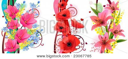 Three beautiful spring floral elements. Raster version. Vector version is in my gallery.