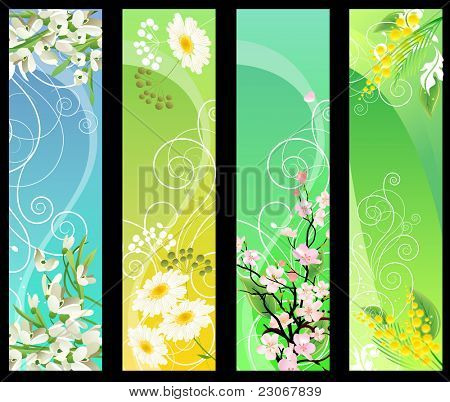 Four different beautiful vertical floral banners. Raster version. Vector version is in my gallery.