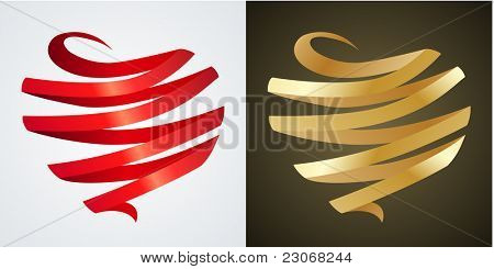 Two hearts made of silk red and gold ribbons
