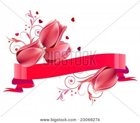 Floral ornate banner with pink tulips isolated on white