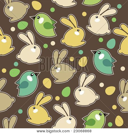Seamless spring pattern with easter eggs,birds and rabbits