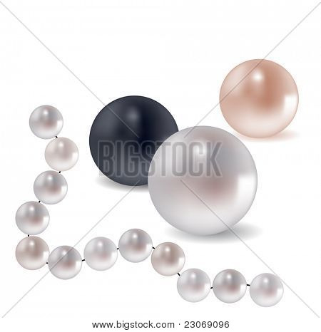 Collection of different pearls. Raster version. Vector version is in my gallery.