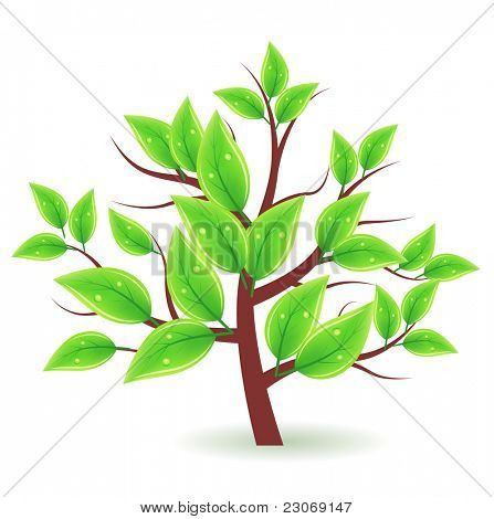Stylized tree with green leaves. Raster version.Vector version is in my gallery.