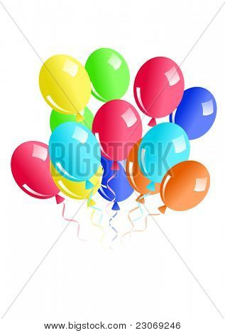 Illustration of balloons isolated on white. Raster version. Vector version is in my gallery.