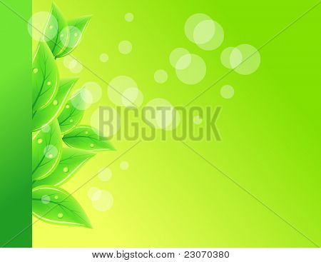 Background with green leaves. Raster version.