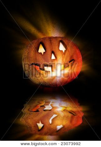 Halloween Pumpkin And Reflection