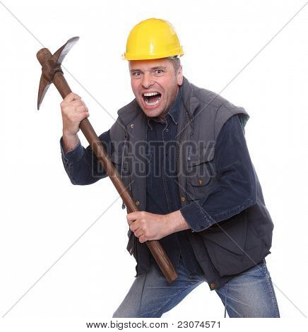 Angry worker with pick axe.
