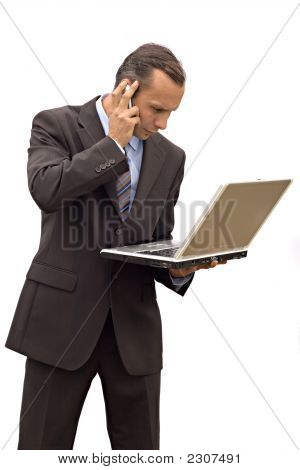 Businessman Phone And Laptop