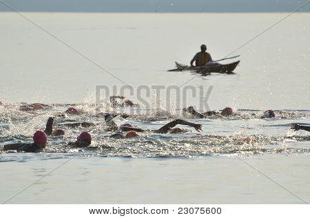 Start Of A Women's Open Water Swim Race