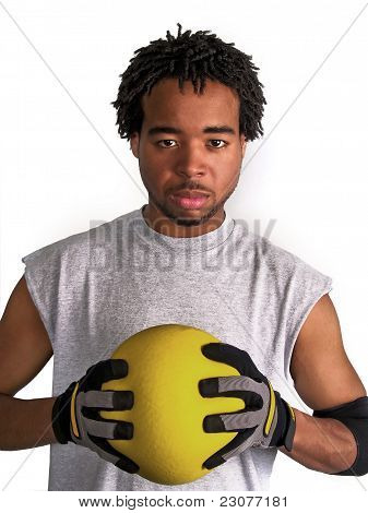 dodge ball player with game face on