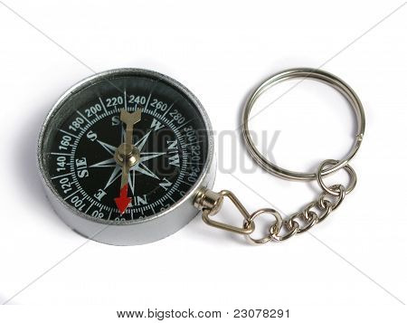 Silver compass keyring
