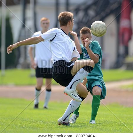 KAPOSVAR, HUNGARY - AUGUST 27: Milan Korona (in green) in action at the Hungarian National Championship under 18 game between Kaposvar (green) and Gyor (white) August 27, 2011 in Kaposvar, Hungary.
