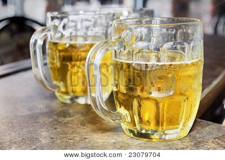 Cold Beers In Glass Bocks