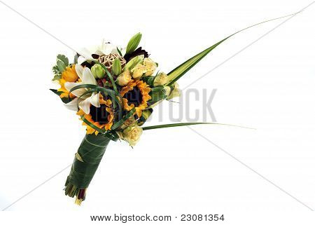 A Bunch Of Flowers On White