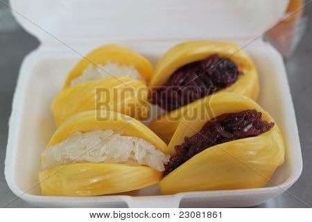 Thailand sticky rice  in jackfruit