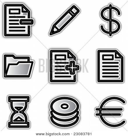 Web icons silver contour various