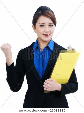 Successful Asian Businesswoman Clenching Her Fist