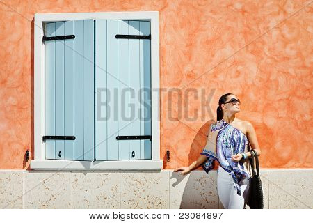 Young Attractive Woman Near The Wall With Window