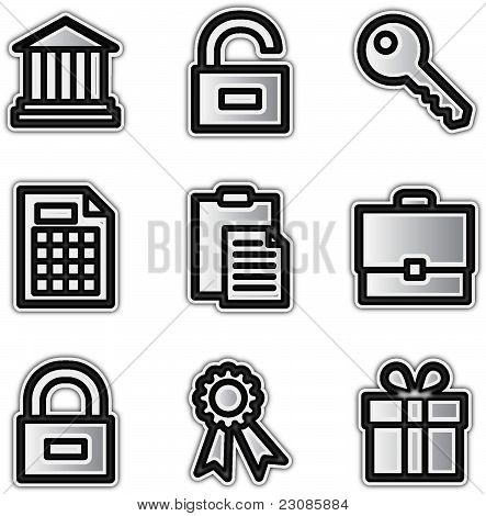 Web icons silver contour financial