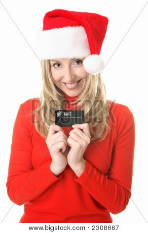 Christmas Shopping - Santa Girl With A Gift Card