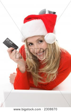 Santa Girl Shopping With A Card