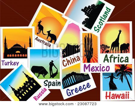 World travel pictures vector