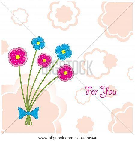Plasticine flowers (postcard), vector illustration