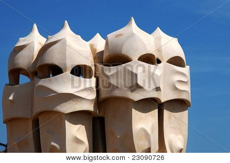 Chimneys at Casa Mila (also called La Pedrera)  Barcelona