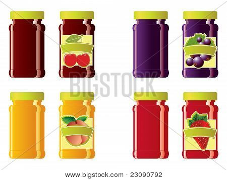 Jam jars and labels vector