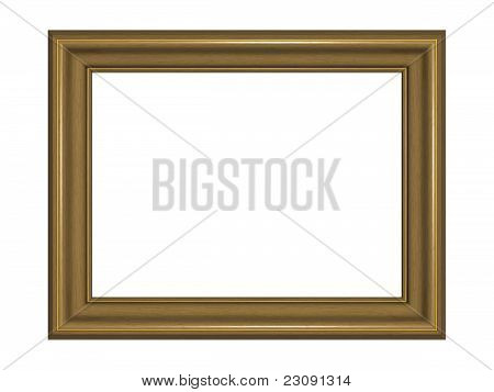 Wooden Picture Frame With Two Golden Fringes. Isolated On The White Background