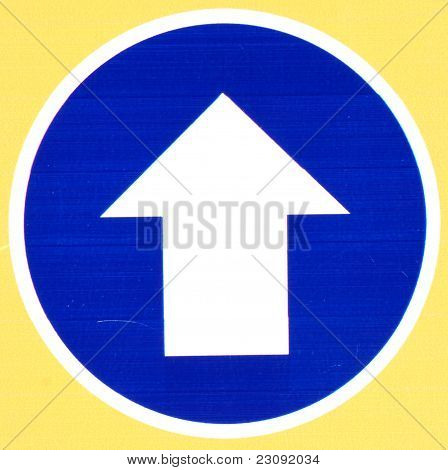 Blue Road Sign With Arrow
