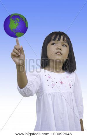 Child touch earth