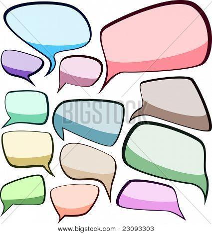 Conjunto de bolhas de cor do discurso de estilo cômico. Ilustração vetorial.