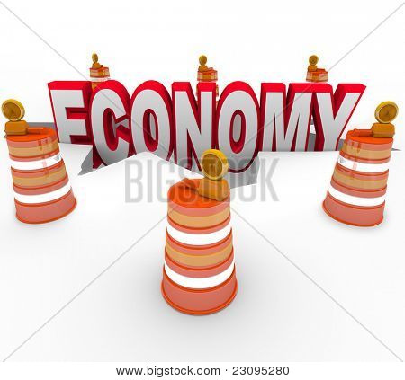 The word Economy falling into a hole symbolizing the financial meltdown that is causing a recession or depression on a global scale