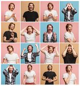 The Collage Of Different Human Facial Expressions, Emotions And Feelings Of Young Man. Happy Busines poster