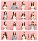 The Collage Of Different Human Facial Expressions, Emotions And Feelings Of Young Woman. Happy Busin poster