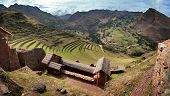 Pisac, The Old Inca Fortress And Terraced Fields In The Sacred Valley (valle Sagrado) Near Cusco, Pe poster