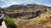 The Colca Canyon In Peru In Arequipa Departement - View Of Terraced Fields And Colca River poster