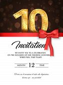 Template Of Invitation Card To The Day Of The Tenth Anniversary With Abstract Text Vector Illustrati poster