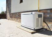 Residential House Natural Gas Backup Generator. Choosing A Location For House Standby Generator. poster